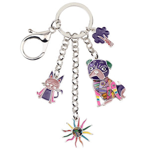 4 Charms in 1 Enamel Key Chain - Go Pugs