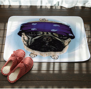 Headband Pug Anti-slip Floor Mat - Go Pugs