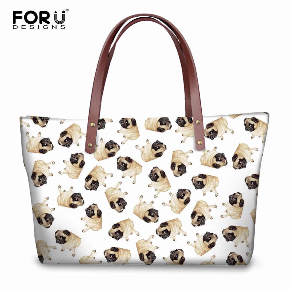 Mini Pug Prints Casual Shoulder Bags - Go Pugs