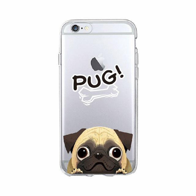 Cartoon Pug Soft Phone Case For iPhone 7Plus 6 6S 6Plus 8 8plus X SAMSUNG - Go Pugs