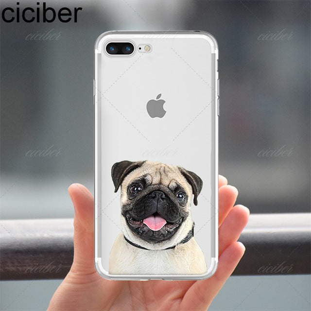 Pug Print Soft Silicone Phone Case For iPhone 6 6S 7 8 Plus 5S SE X - Go Pugs
