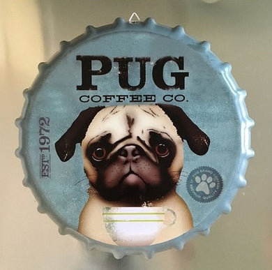 14 inch Pug  Beer Bottle Cap Vintage Tin Sign - Go Pugs