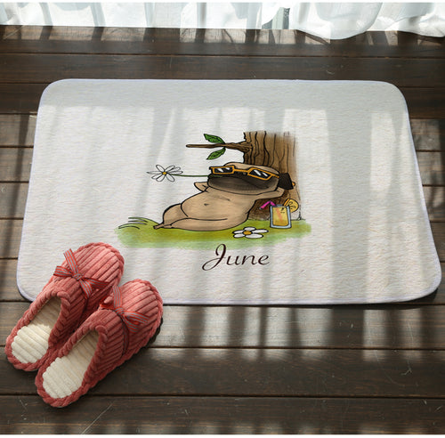 Month Printed Cute Pug Floor Door Mat (12 months selection) - Go Pugs