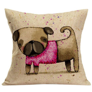 Vintage Cute Dog Pillowcase - Go Pugs