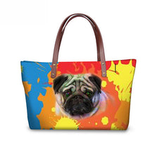 Multicolor Pugs Large Shoulder Bag - Go Pugs