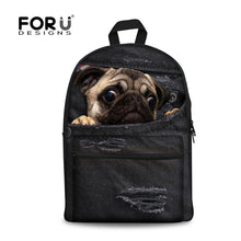 Peeking Pug Denim Black Backpack - Go Pugs