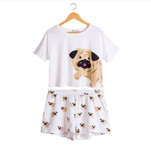 Cute Pug 2 Pieces Set (Crop Top + Elastic Waist Shorts) - Go Pugs