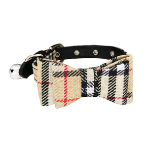 Plaid Dog Collar Bow Tie - Go Pugs