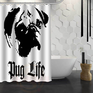 Pug Life Art Shower Curtain - Go Pugs