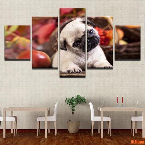 5 Pieces Set Cute Pug Puppy And Fruits Canvas Wall Print (No Frame) - Go Pugs