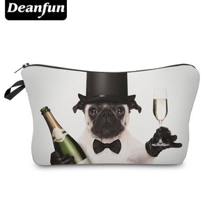 3D Champagne Pug Cosmetic Pouch/Travel Pouch/Pencil Case - Go Pugs