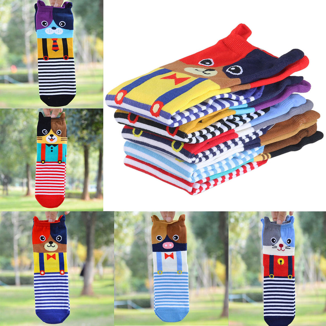 5 Pairs of Cartoon Animal Cotton Tube Socks - Go Pugs