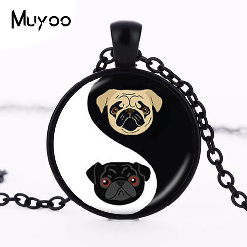 Yin Yang Pug Black and Tan Pendant - Go Pugs