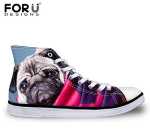 2018 Women Classic High Top Pug Print Casual Canvas Shoes (5 designs) (size 5-12) - Go Pugs