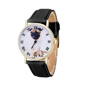 Pug Leather Quartz Wrist Watch (4 colors) - Go Pugs