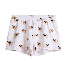 Pug Print Elastic Waist Cotton Sleep Short - Go Pugs