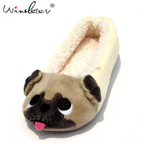 Women Cute Pug Fleece Slippers (US size 6-9 ) - Go Pugs