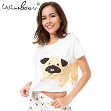 Pug Print Crop Top Cotton Sleep Wear/T Shirt (S-XXL) - Go Pugs