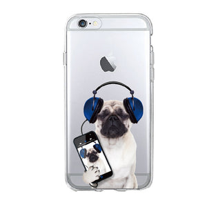 Puppy Pug Soft Phone Case For iPhone 7 7Plus 5 5S 6S 6Plus 8 8Plus X SAMSUNG - Go Pugs