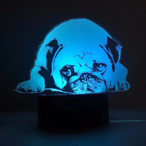 3D USB Touch Button LED 7 Colors Changing Acrylic Pug Table Lamp - Go Pugs