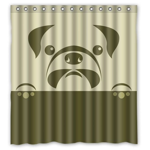 Designer Pug Shower Curtain - Go Pugs