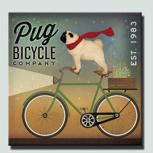 Pug On Bike Canvas Wall Art (No Frame) - Go Pugs
