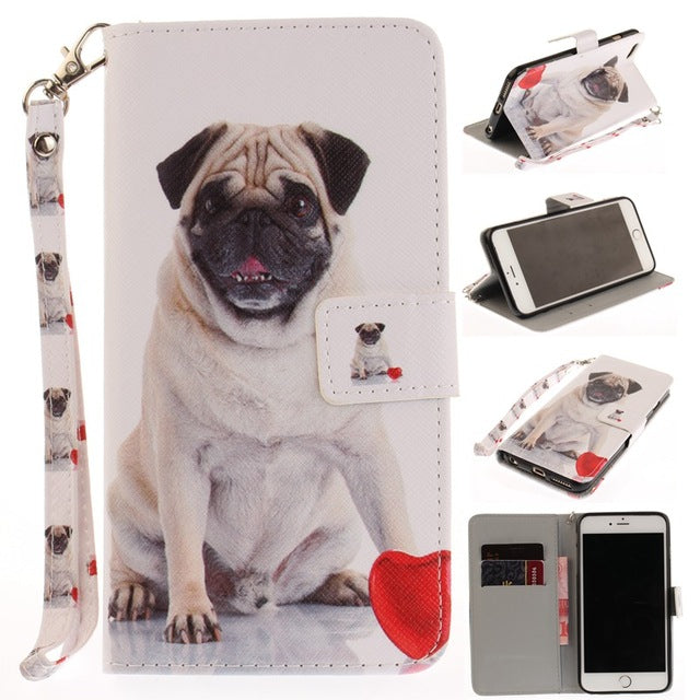 Flip Wallet Case for iPhone 5 5S SE 6 6S 7 8 Plus - Go Pugs