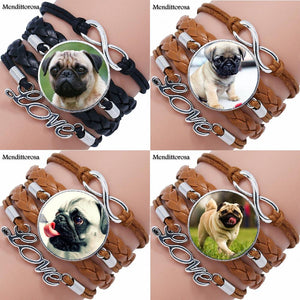 Maxi Pug New Arrival Glass Multilayer Black/Brown Leather Bracelet (12 selections) - Go Pugs