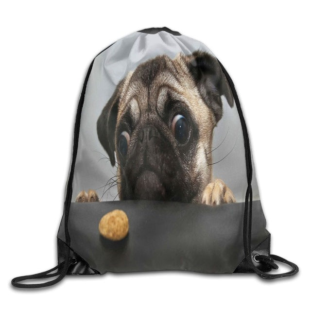 Pug 3D Print Drawstring Travel Bag (9 desigs) - Go Pugs