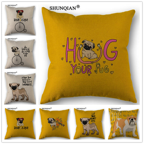 Cartoon Pug Cotton Pillowcase  45x45cm (8 designs) - Go Pugs