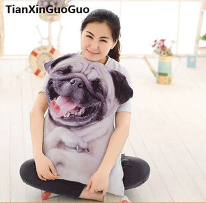 60cm 3D Soft cuddly pug throw pillow - Go Pugs