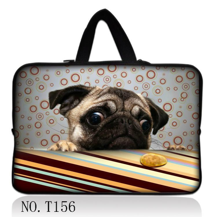 Pug And Cookie Neoprene 7/ 10/ 11/ 12 /13 14/ 15/ 17 Inch Laptop Sleeve Bag With Handle - Go Pugs
