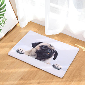 Simple Small Pug Face Floor Mat For Bath, Kitchen, Bedroom, and Home (8 selections) - Go Pugs