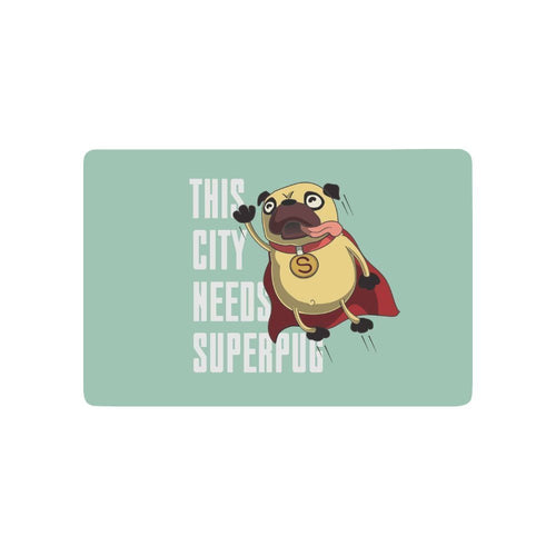 Funny Pug Super Hero Anti-slip Floor Mat - Go Pugs