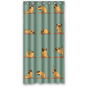 "Pug Design Waterproof Polyester Bathroom Shower Curtain 36"" x 72"" - Go Pugs"
