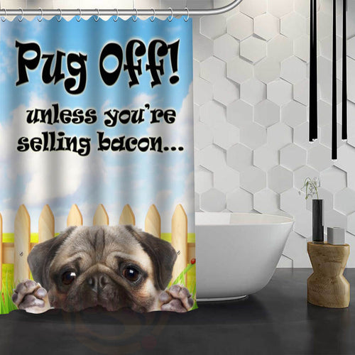 Pug Off Shower Curtain With Hooks - Go Pugs