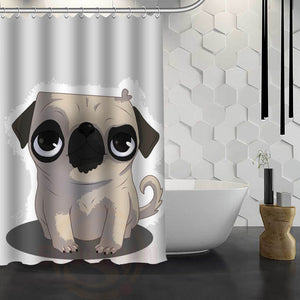 New Cartoon Pug Art  Shower Curtain With Hooks - Go Pugs