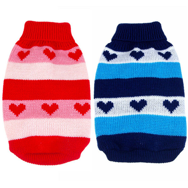 Heart Stripes Knit Sweater - Go Pugs