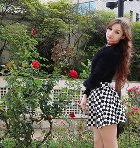 CHECKERED HIGH WAIST SKIRT