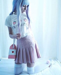LACE-UP PLEATED SKIRT
