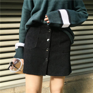 HIGH WAIST CORDUROY SKIRT