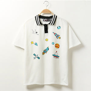 SPACE COLLARED TEE-SHIRT