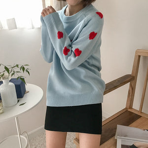 EMBROIDERED HEART SWEATER