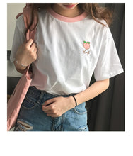PEACH EMBROIDERED TEE-SHIRT