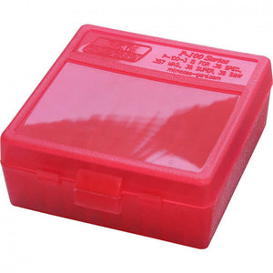 MTM P-100 Series Medium Handgun Ammo Box - 100 Round - Clear Red