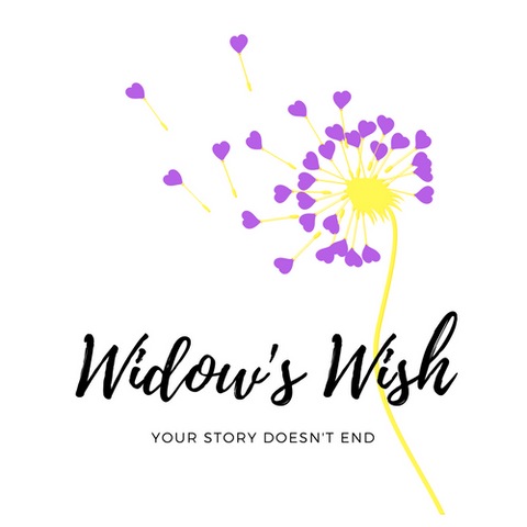 "Widow's Wish logo.  Dandelion flower with hearts. Says ""Your story doesn't end""."
