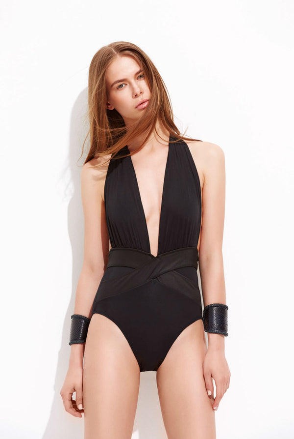 Designer Brand: OYE Product: OYE Swimwear Roman Plunge Black One Piece Swimsuit
