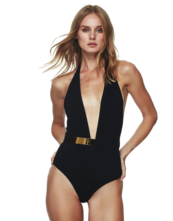 Designer Brand: Moeva Product: Bridget Black One Piece Swimsuit