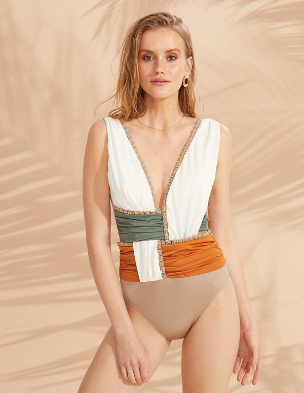 Designer Brand: Lily & Rose Product: Bianca One Piece Swimsuit - Sunbeam