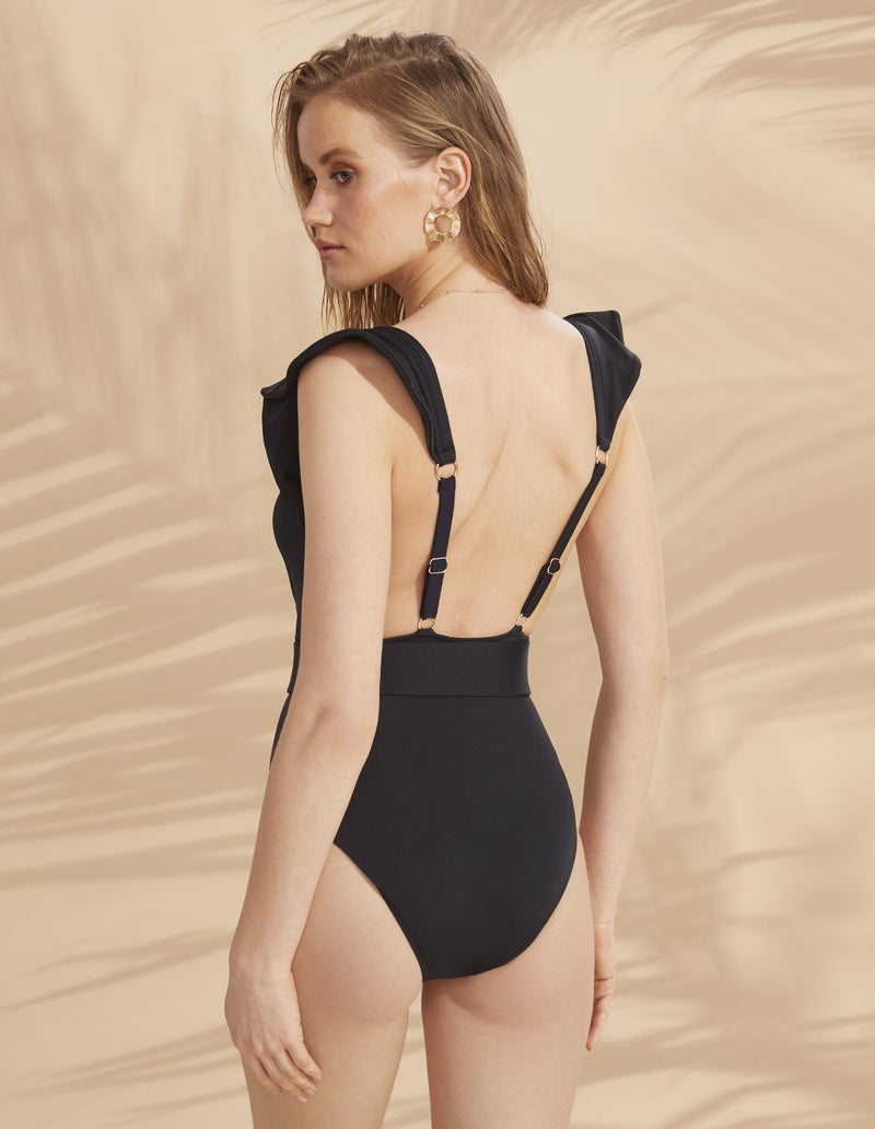 Designer Brand: Lily & Rose Product: Helen Belted One Piece Swimsuit - Carbon